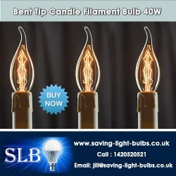 Buy Bent Tip Candle Filament Bulb 40W