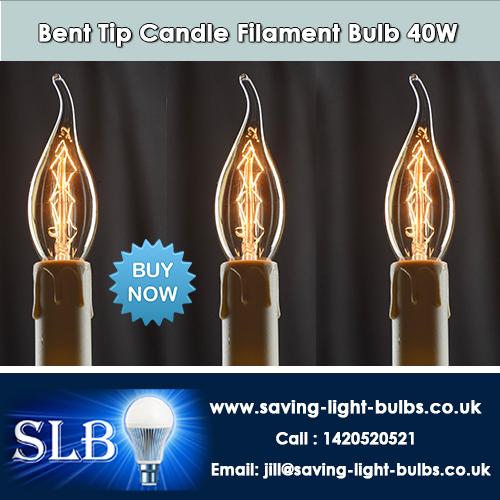 Buy Bent Tip Candle Filament Bulb 40W