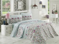 Floral Pattern Mint Green Double Bed Duvet Cover Set