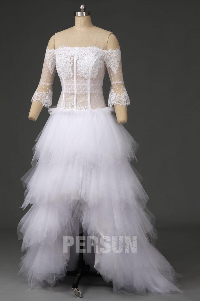 Robe de mariée fantaisie plumetis haut illusion col bardot manche longue