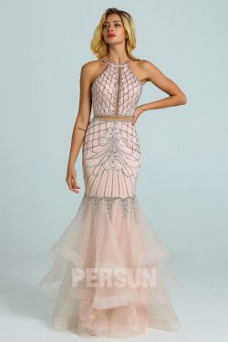 Robe de soirée 2020 sirène rose perle parsemé de bijoux