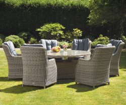 Royalcraft Wentworth 6 Seater Round High Back Comfort Dining Set