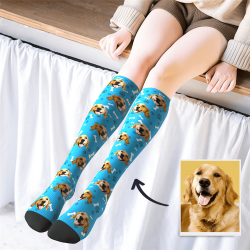 Custom Photo Knee High Socks Dog
