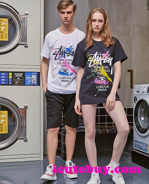 【STUSSY】ステューシー Tシャツ 落書き 半袖Tシャツ Stussy 芸能人愛着 欧米新品 メンズ レディース  ...