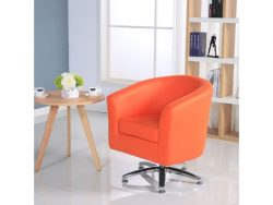 Camden Leather Swivel Orange Tub Chair Armchair