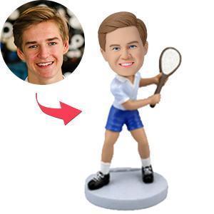 Tennis Player In Backswing Custom Bobblehead