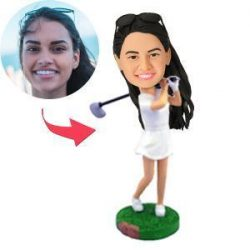 Female Golfer Swinging Her Club Custom Bobblehead