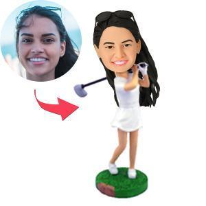 Female Golfer Swinging Her Club Custom Bobblehead