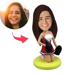 Cheerleader Kneeling Custom Bobblehead