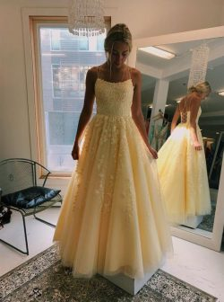 Buy Daffodil Tulle Sleeveless Long Prom Dresses With Appliques MP196 – MyGirlProm.com