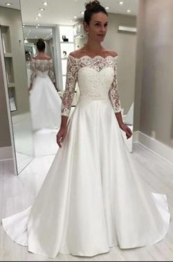 Wunderschöne Brautkleider A Linie | Spitze Hochzeitskleider Mit Ärmel