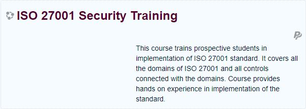 ISO 27001 SECURITY TRAINING