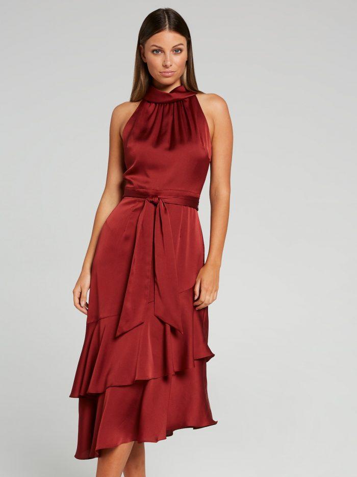 Luna Tiered Midi Dress Indigo – Portmans Online