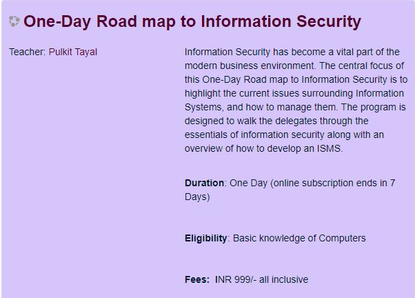 ONE-DAY ROADMAP TO INFORMATION SECURITY
