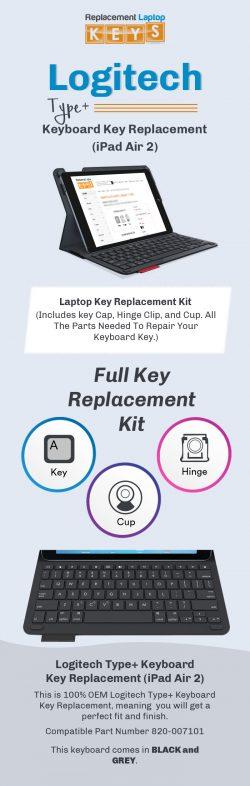 Order Individual Logitech Type+ Keyboard Keys (iPad Air 2) Online from Replacement Laptop Keys