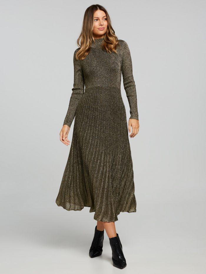 Sandra Lurex Dress Gold – Portmans Online