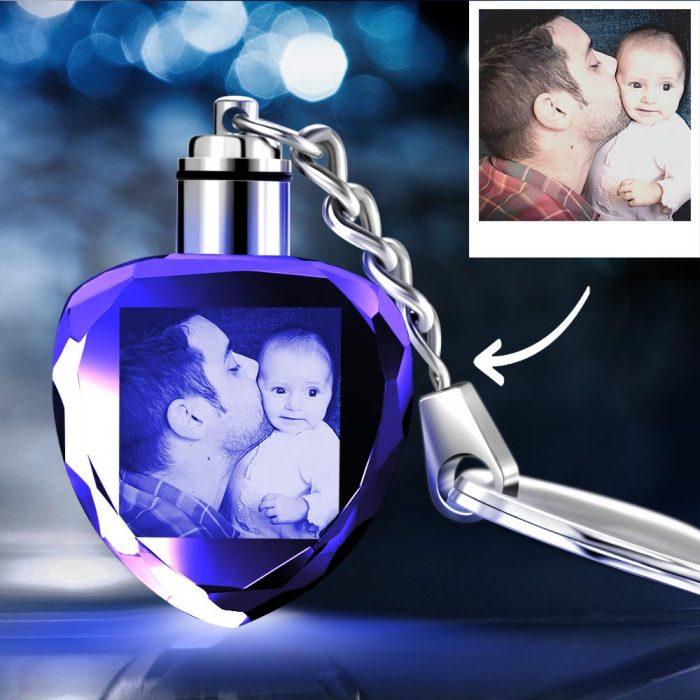 Gifts for Dad Custom Crystal Heart Shape Photo Key Chain