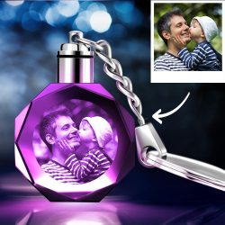 Father's Day Gifts Custom Crystal Octagon Shape Photo Key Chain