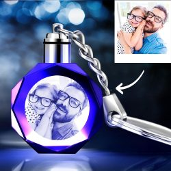 Gifts for Dad Custom Crystal Octagon Shape Photo Key Chain