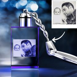 Gifts for Dad Custom Crystal Rectangle Shape Photo Key Chain