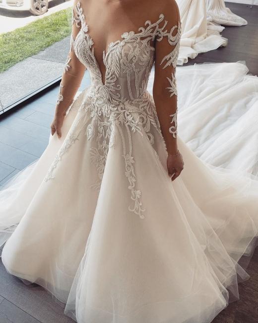 Elegante Brautkleider Mit Ärmel | Hochzeitskleider A Linie Online