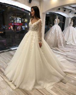 Fashion Hochzeitskleider mit Ärmel | Brautkleid A Linie Spitze