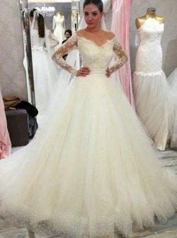 Günstige Brautkleider mit Ärmel | Hochzeitskleid A linie Spitze