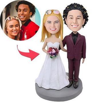 UK Sales-Wedding With Red Suit Custom Bobblehead