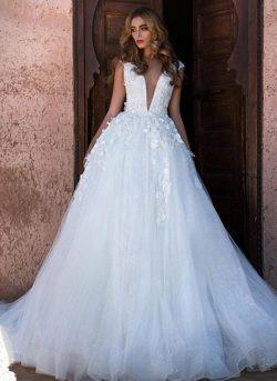 Schlichtes Brautkleid A Linie | Hochzeitskleid Prinzessin Glitzer Tüll