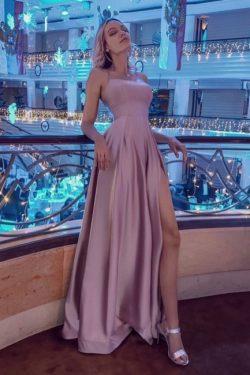Schlichtes Abendkleid lang Rosa | Abendmoden online