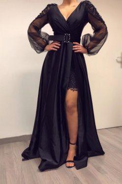 Elegante Abendkleider Lang Schwarz | Abiballkleider mit Ärmel