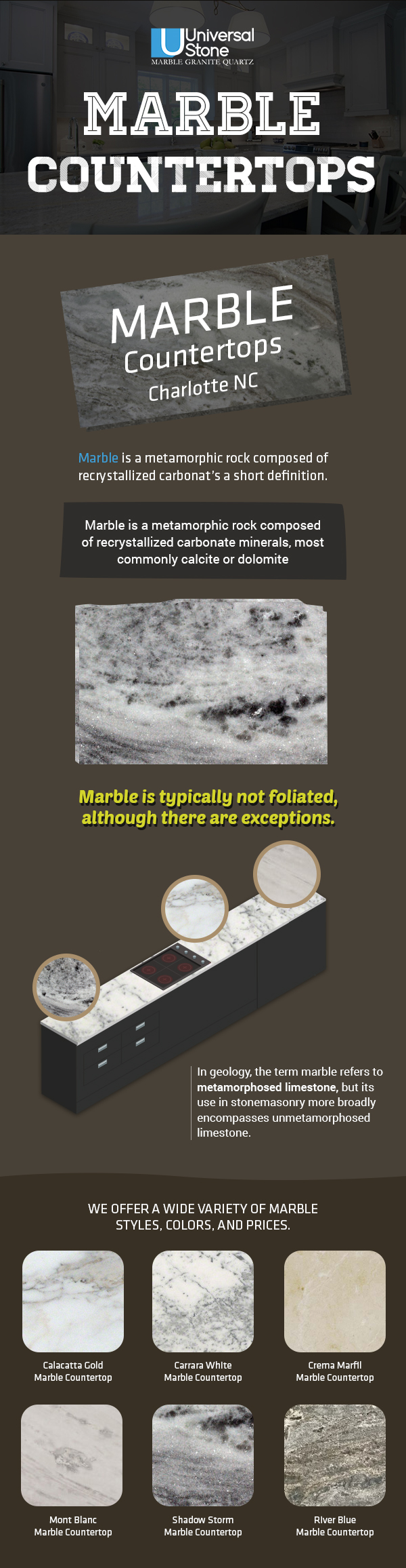 Contact Universal Stone for Quality Marble Countertops in Charlotte, NC