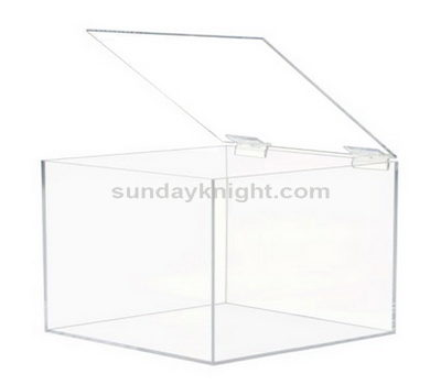 Custom made acrylic box with hinged lid, custom acrylic boxes