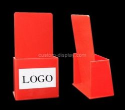 Custom table top red acrylic literature holder, perspex brochure holder