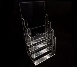 Custom 4 tiered clear acrylic leaflet holders, plexiglass brochure holders