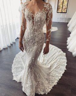 Designer Hochzeitskleider Meerjungfrau mit Ärmel | Brautkleid Spitze Online Kaufen