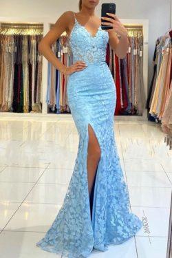 Elegante Abendkleider Blau | Spitze Abiballkleider Meerjungfrau