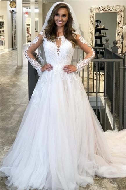 Günstige Hochzeitskleider Vintage | Brautkleid A Linie Spitze Ärmel