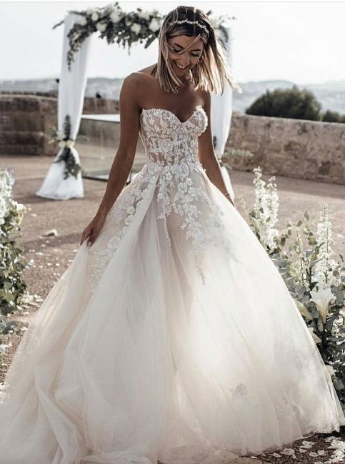 Hochzeitskleider Prinzessin Spitze | Brautkleid A Linie Online