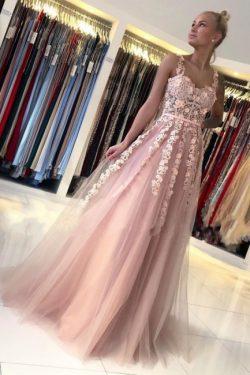 Wunderschöne Abendkleider Lang Rosa | Ballkleider mit Spitze