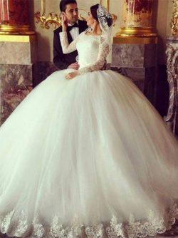 Hochzeitskleid Lange Ärmel | Brautkleider Prinzessin mit Spitze
