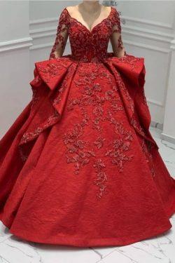 Designer Abendkleider Lang Rot | Abiballkleider Mit Spitze Ärmel