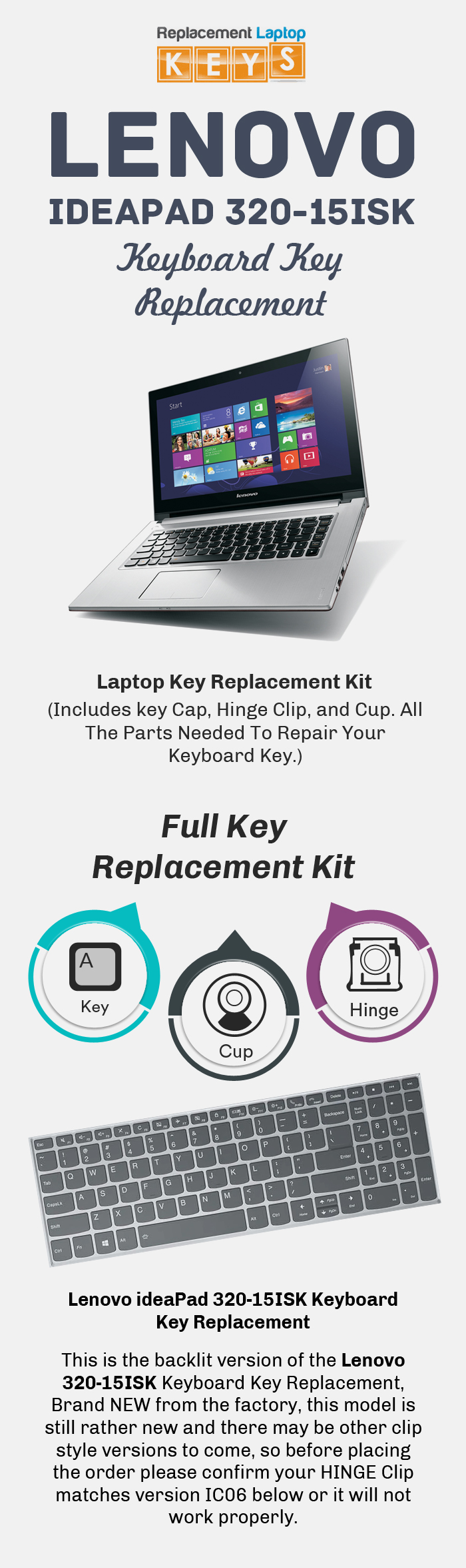 Get Lenovo ideaPad 320-15ISK Keyboard Key from Replacement Laptop Keys