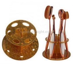 Gold acrylic makeup brush display stand – Factory direct sale