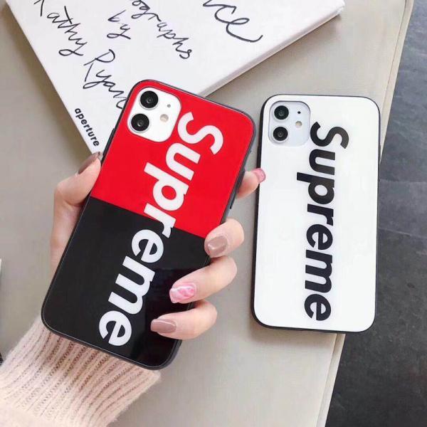 Supreme iphone 11/11pro maxケース ガラス表面 シュプリーム アイフォン11プロカバー 送料込み