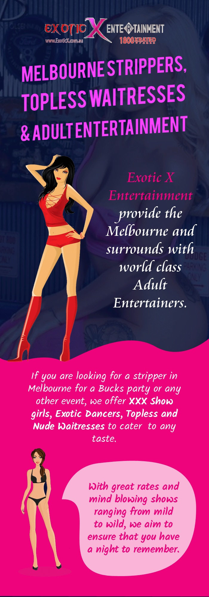 Hire Top-Class Strippers & Topless Waitresses in Melbourne from Exotic X Entertainment