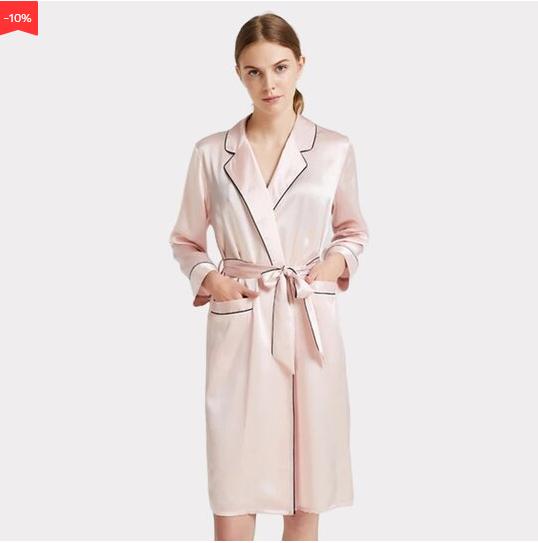 22 Momme High Quality Flesh Pink Turndown Collar Silk Robe
