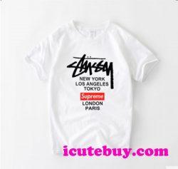 ステューシー シュプリーム コラボ Tシャツ Stussy Supremeコラボ 半袖Tシャツ メンズ オーバーサイズ  ...