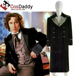 Best Doctor Who Dr Eighth 8th Velvet Dark Green Coat Cosplay Costume