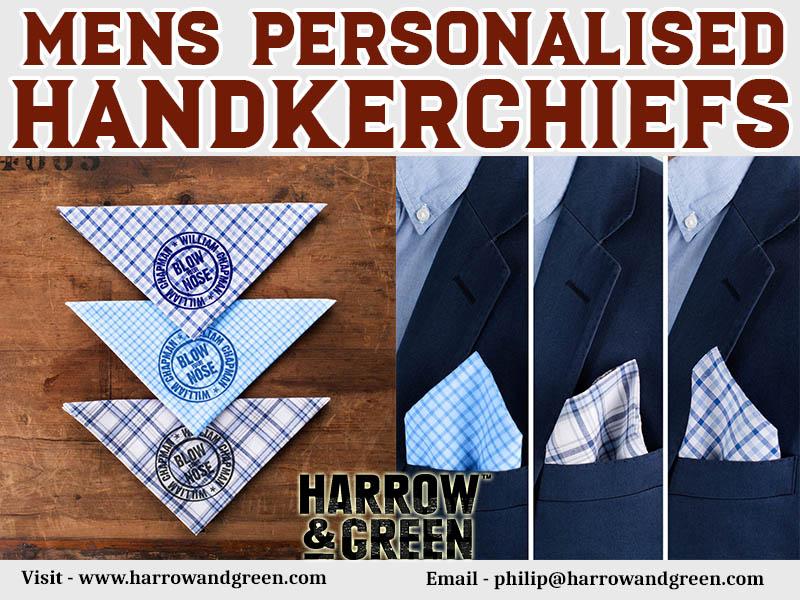 Mens Personalised Handkerchiefs At Harrow & Green Partners Ltd
